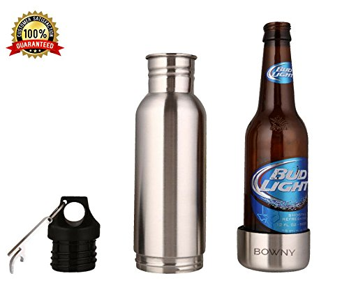 Beer Bottle Cooler Insulator Stainless Steel 1 Pack That Keeps Your Beer Cold Silver 12 oz Universal Fit Liquid Tight Seal With Opener Bowny