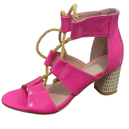 OutTop(TM) Womensr High Heels Sandals Summer Open Toe Cork Flatform Ankle Strap Hemp Rope Espadrille Shoes (US:8.5, Hot Pink)]()
