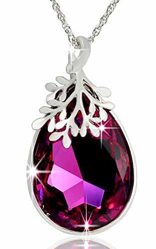 Alantyer Water Drop Pendant Olive Branch Women Necklace Made with Teardrop Swarovski Crystal