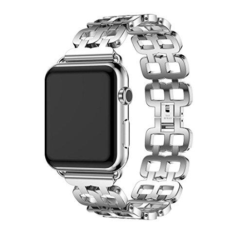 For Apple Watch Series 1 42mm,GBSELL Genuine Stainless Steel Bracelet Smart Watch Band Strap + Repair Tool (Silver)