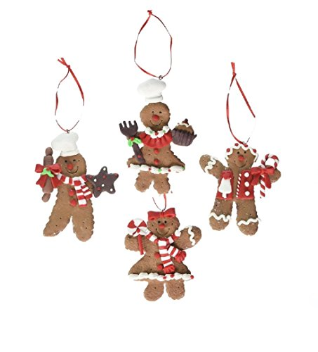 Kurt Adler Claydough Peppermint Gingerbread Ornaments, Set of