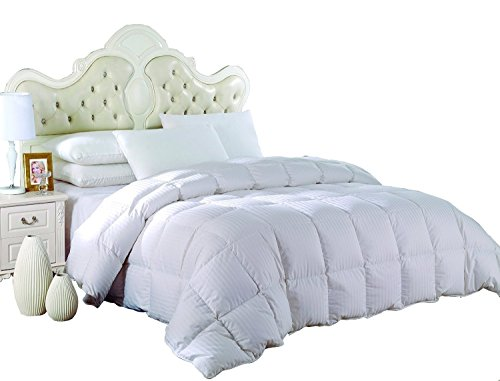 Royal Hotel's OVERSIZED King Size Light Down-Comforter 650-Fill-Power 100 % Cotton Shell 300TC - Stripe White