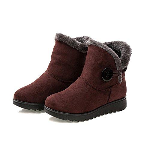 Dear Snow Boots Warm Winter Time Women Brown Button 8wq8PHr