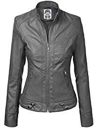 Womens Dressy Vegan Leather Biker Jacket