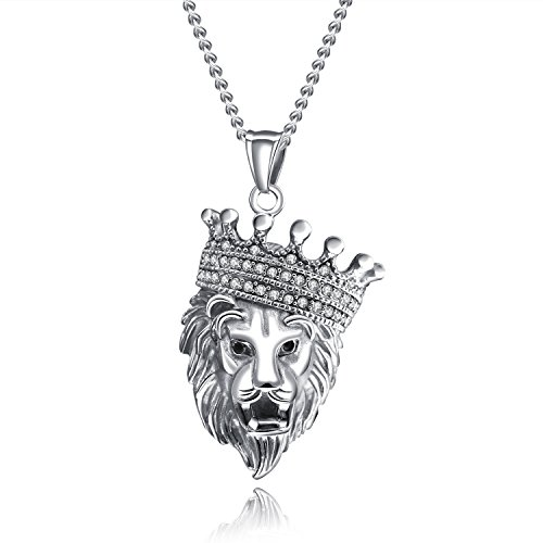 (Fate Love Punk Men's Stainless Steel Animal Lion Head Shape Pendant Necklace with 22 inch Chain)