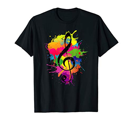 Treble Clef Colorful Paint Splatters Music Theory T-Shirt