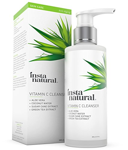 Vitamin C Facial Cleanser - Exfoliating Face Wash - Anti Aging, Breakout, Wrinkle Reducing Gel - Clear Pores on Oily, Dry & Sensitive Skin with Organic & Natural Ingredients - InstaNatural - 6.7 OZ