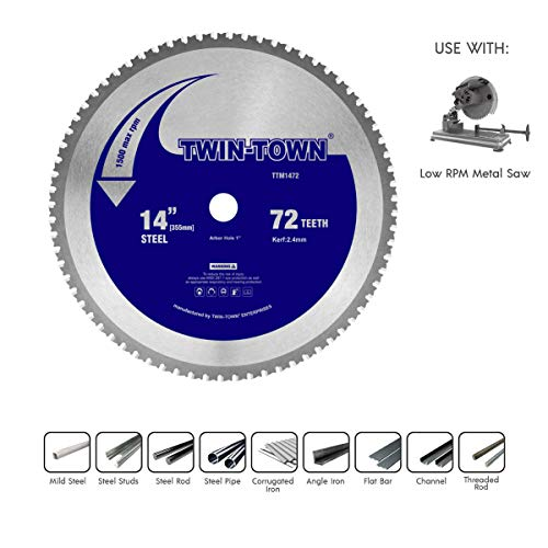 TWIN-TOWN 14-Inch 72 Teeth Dry Cut Steel and Ferrous Metal Saw Blade with 1-Inch ()