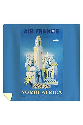 Air France - North Africa Vintage Poster (artist: Villemot) France c. 1946 (88x88 Queen Microfiber Duvet Cover) by Lantern Press