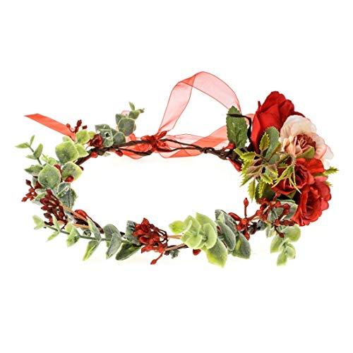 Vividsun Bridal Green Leaf Crown Bohemian Headpiece Floral Headband Photo Prop (red flower/leaf)