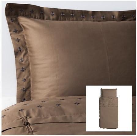 IKEA VINRANKA – Funda de edredón y funda de almohada de satén de algodón doble tamaño marrón: Amazon.es: Hogar