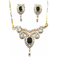Shingar Jewelry Ksvk Jewels Cubic Zirconia (CZ) Tanmania Pendant Set For Women (9957-psad-black)