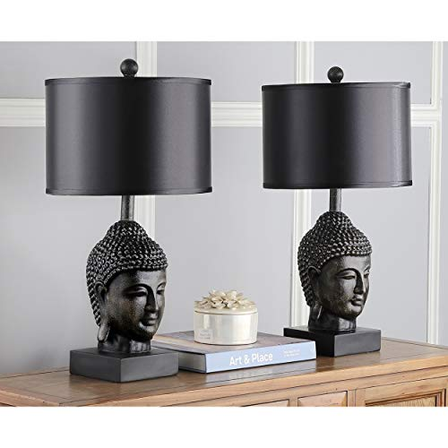 (Buddha Lamp Black Monk Theme Sculptures Table Lamps Zen Meditating Buddhism Garden Statues Spiritual Yoga Mendicant Carving Sage Budha Warrior Figurine Home Decor, 2 Piece Ceramic 100 Watts)