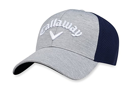 Callaway Golf 2018 Mesh Fitted Hat, Heather Grey/Navy, Large/X-Large