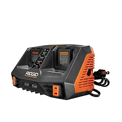 Ridgid AC840094 GEN5X Dual Port Sequential Charger with Dual USB Ports by Ridgid