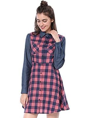 Allegra K Women's Long Sleeve Chest Pocket Button Plaid Shirt Dress