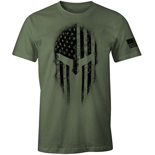 USA American Spartan Molon Labe Patriotic Men's T Shirt (Military Green, M)
