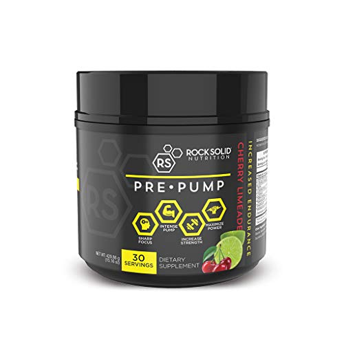 Rock Solid Nutrition Pre-Pump: Best Pre-Workout Supplement | Creatine + Citrulline + Carnitine to Increase Power, Blood Flow, Pumps & Fat Loss (Cherry Limeade) (Pump Creatine Fuel)