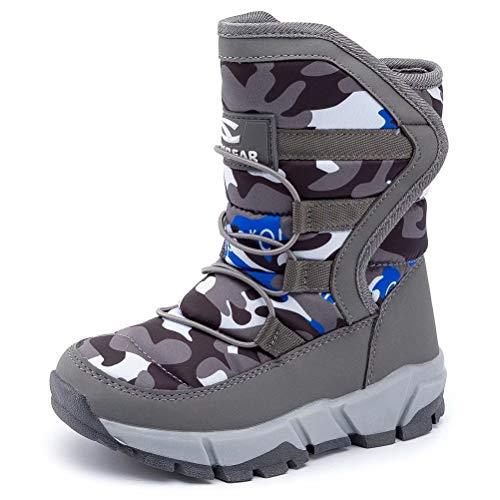 BODATU Boys Girls Snow Boots Outdoor Waterproof Winter Kids Shoes Toddler 9.5, Grey