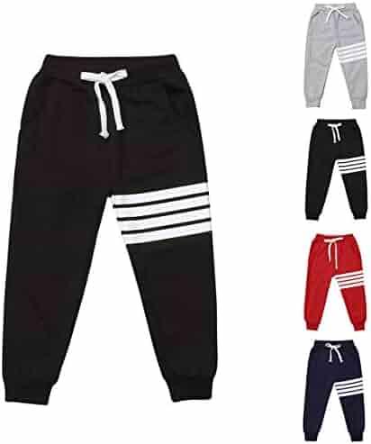 PAUBOLI Jogging Pants Boys Girls Active Sweat Pants with Strips on Side 2-8T