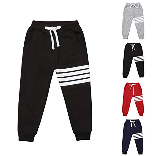 - Baby Boys Girls Cotton Elastic Waist Sports Pants White Strips Print Unisex Baby Casual Active Sweatpants Trousers Bottoms (Black, 4-5T)