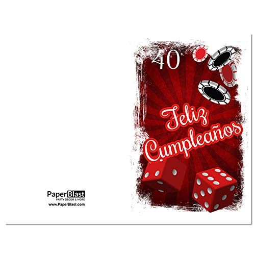 Amazon.com: Casino Feliz Cumpleanos 40th Birthday Card in ...