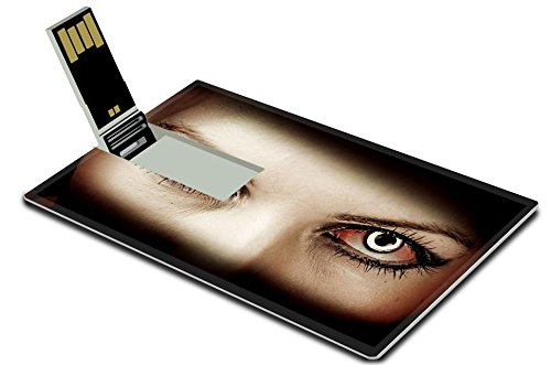 Liili 16GB USB Flash Drive 2.0 Memory Stick Credit Card Size IMAGE ID: 18733912 Evil bloody female zombie eyes dirt make up Macro Halloween (Halloween Makeup Videos)