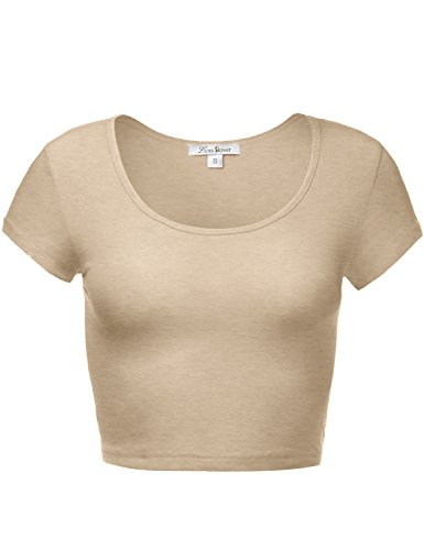 Cute Soft Slim Fitted Short Sleeve Scoop Neck Crop Tops 097-Hbeige US S