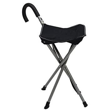 Superieur Folding Cane Chair   Walking Stick With Stool   In Black