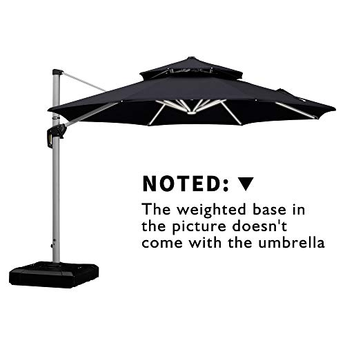 PURPLE LEAF 11 Feet Double Top Deluxe Solar Powered LED Round Patio Umbrella Offset Hanging Umbrella Outdoor Market Umbrella Garden Umbrella, Black (Round Umbrella Top)
