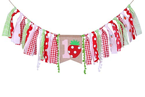 Strawberry Birthday Banner For 1 St Birthday - First Birthday Decor For Photo props, Strawberry Birthday Party For For Baby Shower, Best Party Supplies