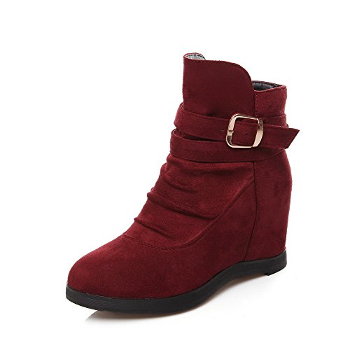 Claret Pull on Suede Heels Low Solid Imitated top Boots High AmoonyFashion Women's 71AZ1P