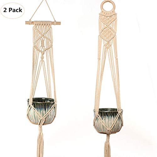- Popvip Macrame Plant Hanger, 2 Pack Handmade Indoor Wall Hanging Planter Boho Wall Art Home Decor(Pot Not Included)