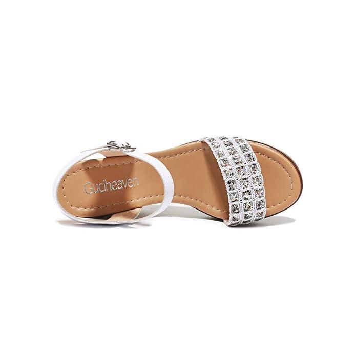 Kphy Scarpe Da Donna in Estate Il Diamante Della Moda Casual La Fibbia I Sandali Fondo Piatto China E Mezzo Tacchi 35 Golden