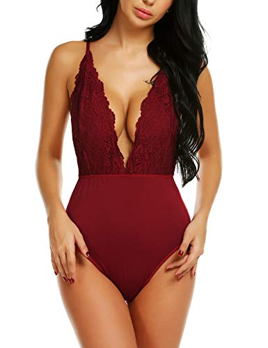 t for Women,Red Lace Bodysuit, Deep Plunge Bodysuit, Red L ()
