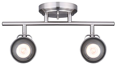 CANARM IT622A02BN10 LTD Polo 2 Light Track Rail, Brushed Nickel with Adjustable Heads