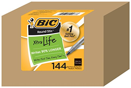 bic-round-stic-xtra-life-ball-point-stick-pen-medium-point-10-mm-black-ink-144-count