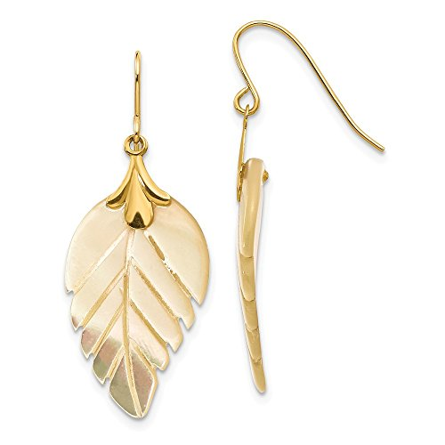 14k Yellow Gold Mother of Pearl Leaf Dangle Earrings ()