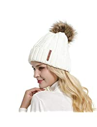 GanJingRen Womens Faux Fur Pompoms Lined Thick Knitted Warm Winter Slouchy Beanie Hat