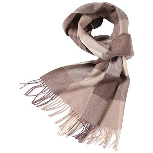 WAMSOFT Mens Wool Scarf, Women Classy Gift Soft Elegant Scarf Luxurious Cashmere Feel Plaid Tartan Checked Scarf with Tassels, Khaki