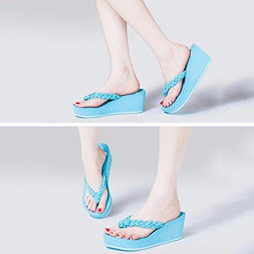 Eva À Bleu Anti Pente Été Femelle Épais Toe Hauts Talon Chaussures Chaussons Mode En Avec Clip Des dérapante Sandales Semelle Talons Xz8RTqwn