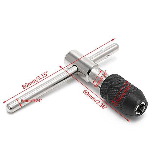 TOOGOO 5pzs juego Maquina de tipo T Escariador macho a roscar rosca de tornillo de mano M3//M4//M5// Juego de macho a roscar con brocas taladros giratorios y llave