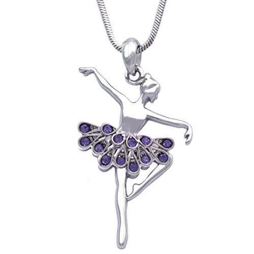 cocojewelry Ballerina Ballet Dancer Passe Relever Pose Pendant Necklace Gift Box (Passe Purple)