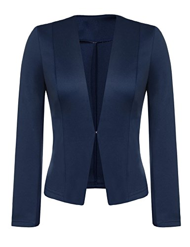 Grabsa Women's Casual Open Front Blazer Collarless Long Sleeve Suit Jacket Navy Blue XL