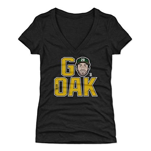 500 LEVEL Matt Olson Women's V-Neck Shirt Medium Tri Black - Oakland Baseball Women's Apparel - Matt Olson GO Oak Y WHT