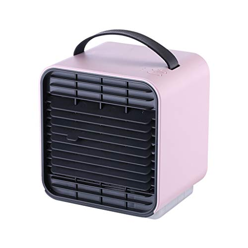 Personal Arctic Air Cooler, USB Evaporative Coolers with Waterbox, Portable LED Table Fan, USB Charging, 2000 MAh Three-Speed Wind Adjustable Ultra-Quiet Table Fan for Home Office Bedroom (Pink)