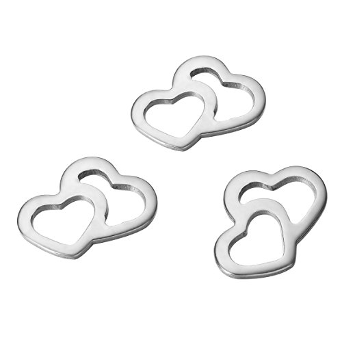 HOUSWEETY 10pcs Stainless Steel Heart Jewelry Connectors Link (Heart Bracelet Connector)