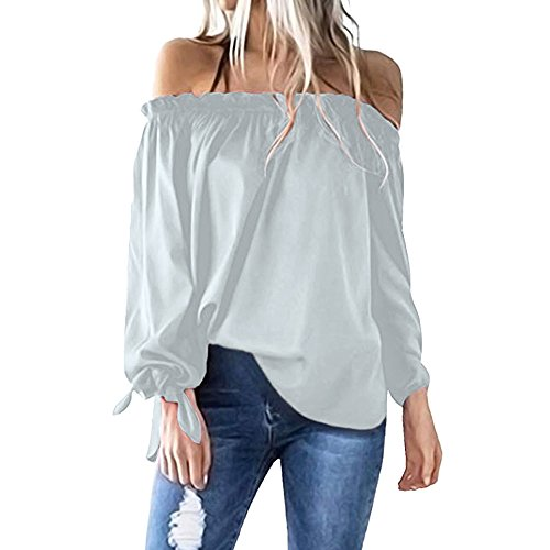♛HebeTop♛ Womens Loose Strappy Cold Shoulder Tops Basic T Shirts Gray ()