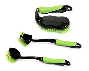 Set of 3 Kitchen Brushes, Dish Brush, Pan Brush, and Scrub Brush with Comfort Grip Handles