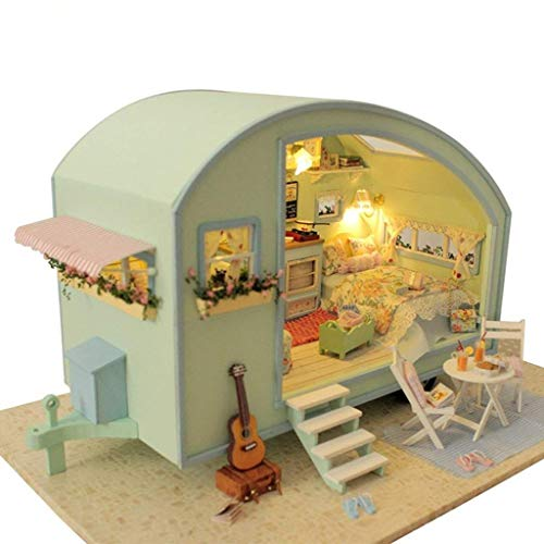 Rylai 3D Puzzles Wooden Handmade Dollhouse Miniature DIY Kit - Time Travel Series Dollhouses & Furniture( 1:18 Scale Dollhouse)]()
